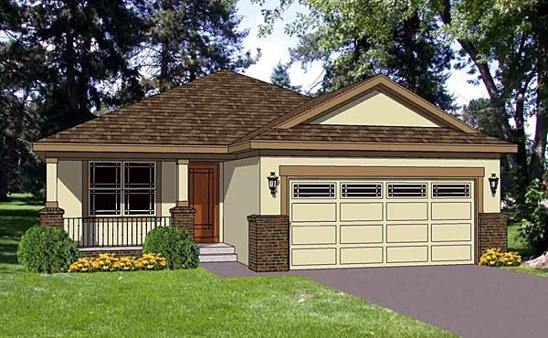 Narrow Lot, One-Story, Southwest House Plan 94473 with 3 Beds, 2 Baths, 2 Car Garage Elevation