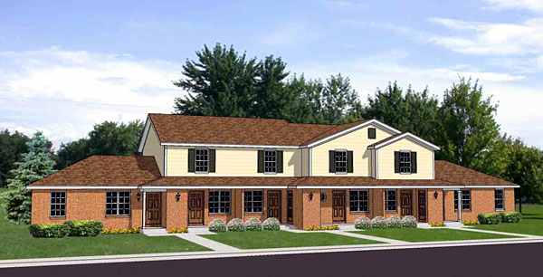 Traditional Multi-Family Plan 94484 with 10 Beds, 6 Baths Front Elevation