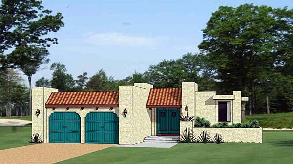 Santa Fe, Southwest House Plan 94488 with 3 Beds, 3 Baths, 2 Car Garage Elevation