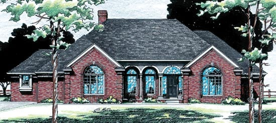 European, One-Story House Plan 94973 with 2 Beds, 3 Baths, 3 Car Garage Front Elevation