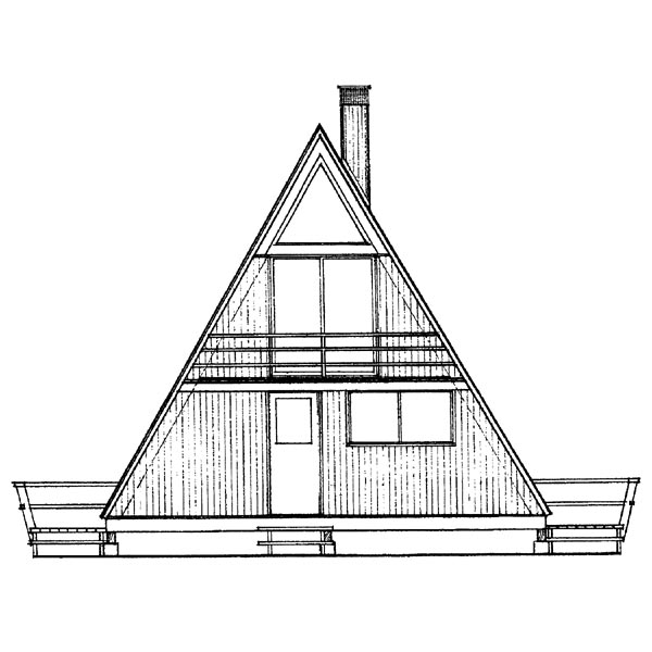 A-Frame, Contemporary, One-Story House Plan 95002 with 2 Beds, 1 Baths Rear Elevation