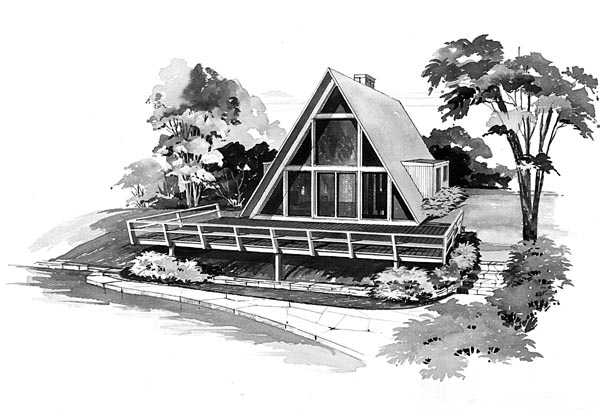 A-Frame, Contemporary, Retro House Plan 95004 with 2 Beds, 1 Baths Front Elevation