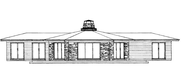 One-Story, Ranch House Plan 95012 with 3 Beds, 2 Baths Rear Elevation