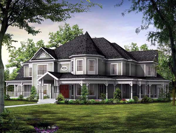 Victorian House Plan 95027 with 5 Beds, 5 Baths, 3 Car Garage Front Elevation