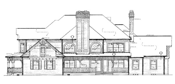 Victorian House Plan 95027 with 5 Beds, 5 Baths, 3 Car Garage Rear Elevation