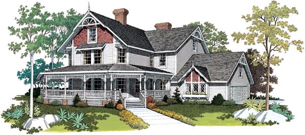 Farmhouse, Victorian House Plan 95030 with 5 Beds, 4 Baths Elevation