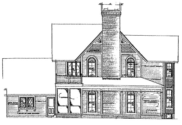 Farmhouse, Victorian House Plan 95030 with 5 Beds, 4 Baths Rear Elevation