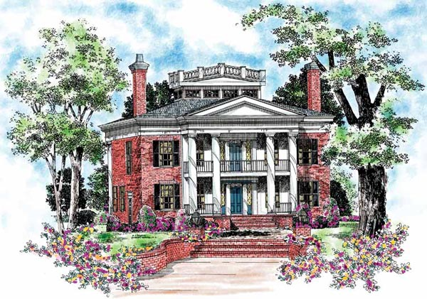 Colonial, Plantation House Plan 95058 with 4 Beds, 4 Baths Elevation