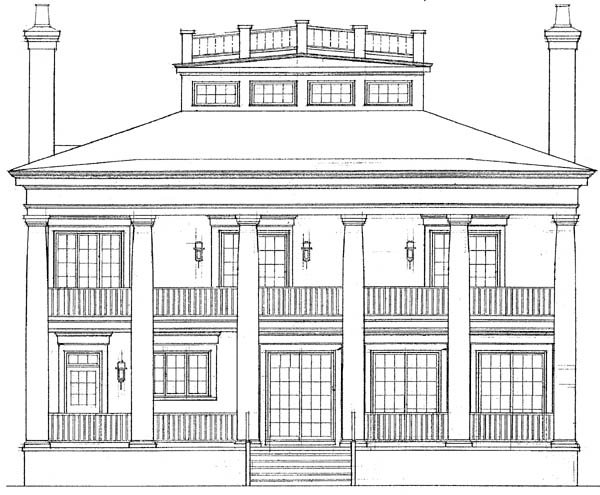 Colonial, Plantation House Plan 95058 with 4 Beds, 4 Baths Rear Elevation