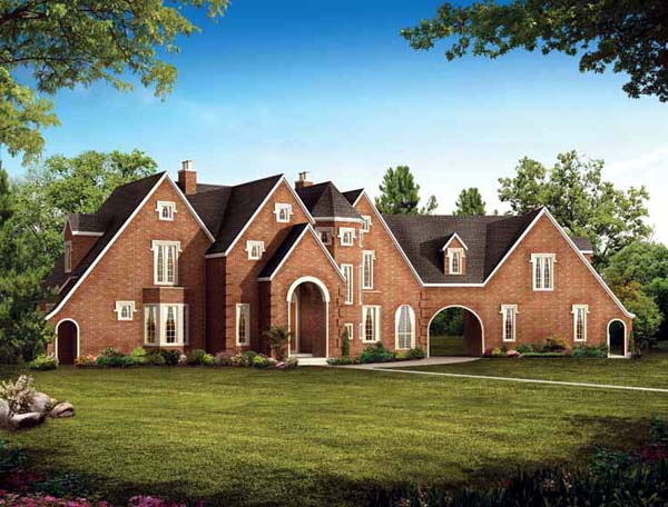 Tudor House Plan 95068 with 4 Beds, 4 Baths, 2 Car Garage Elevation