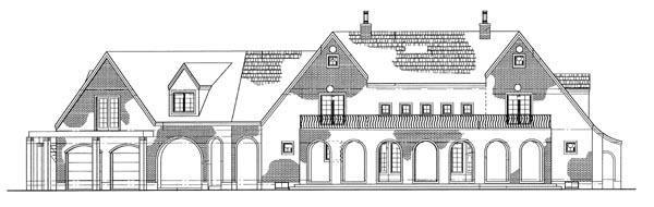 Tudor House Plan 95068 with 4 Beds, 4 Baths, 2 Car Garage Rear Elevation