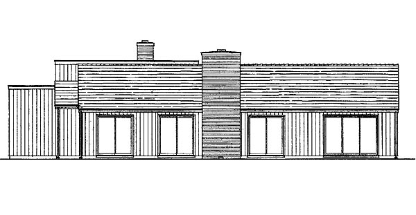 Contemporary, Retro House Plan 95111 with 4 Beds, 3 Baths, 2 Car Garage Rear Elevation