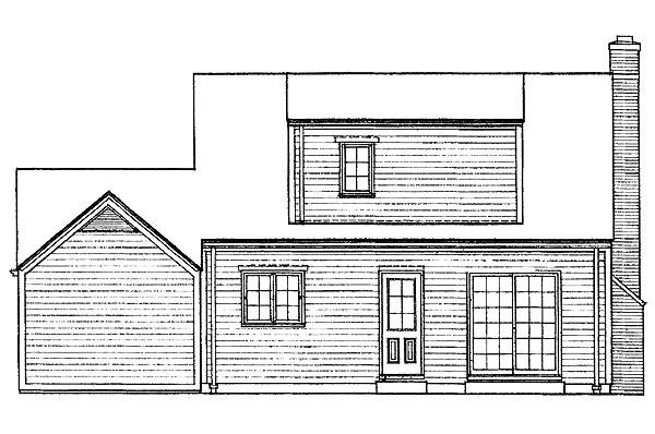 Cape Cod House Plan 95112 with 3 Beds, 2 Baths, 1 Car Garage Rear Elevation