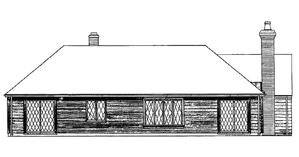 Ranch House Plan 95113 with 3 Beds, 3 Baths, 2 Car Garage Rear Elevation