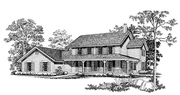 Country, Farmhouse House Plan 95164 with 4 Beds, 3 Baths, 2 Car Garage Elevation