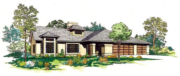Contemporary, Southwest House Plan 95199 with 3 Beds, 3 Baths, 3 Car Garage Elevation