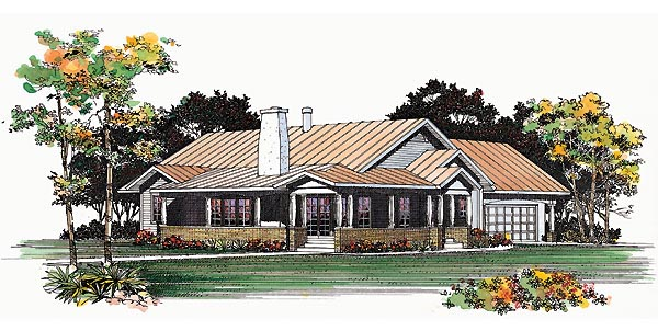 Ranch House Plan 95209 with 3 Beds, 2 Baths, 2 Car Garage Elevation