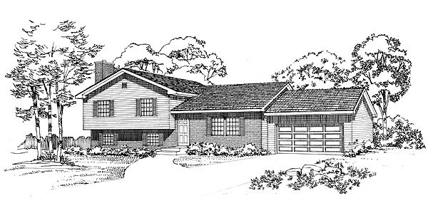 Ranch House Plan 95260 with 4 Beds, 3 Baths, 2 Car Garage Elevation