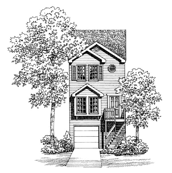 Narrow Lot, Traditional House Plan 95265 with 2 Beds, 2 Baths, 1 Car Garage Elevation