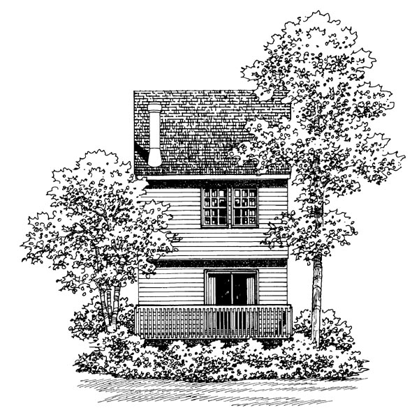 Narrow Lot, Traditional House Plan 95265 with 2 Beds, 2 Baths, 1 Car Garage Rear Elevation