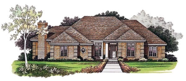 Traditional House Plan 95268 with 3 Beds, 6 Baths, 2 Car Garage Front Elevation