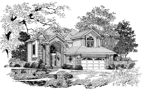 European House Plan 95275 with 4 Beds, 3 Baths, 2 Car Garage Front Elevation