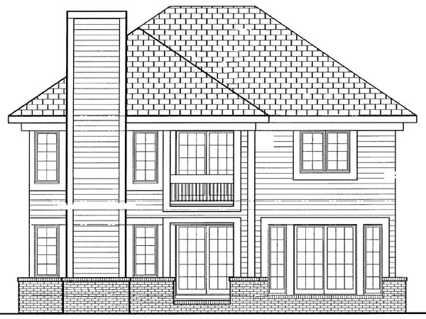 European House Plan 95275 with 4 Beds, 3 Baths, 2 Car Garage Rear Elevation