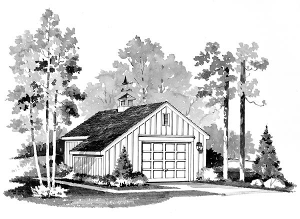 Country, Farmhouse 1 Car Garage Plan 95284 Front Elevation
