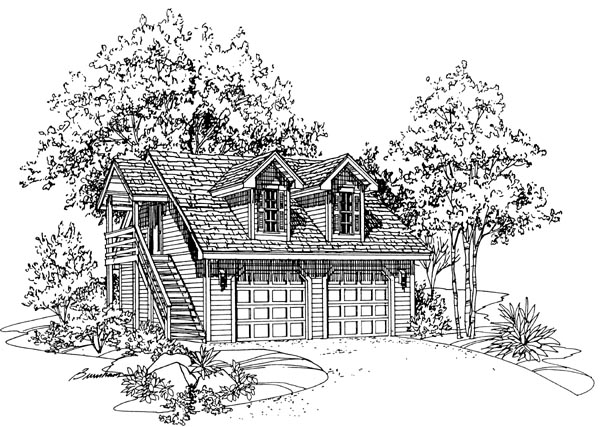 2 Car Garage Plan 95287 Elevation