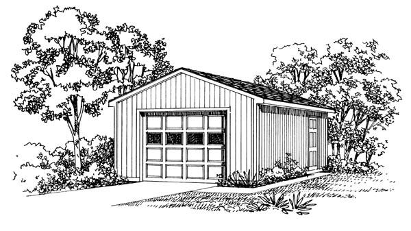 1 Car Garage Plan 95289 Elevation