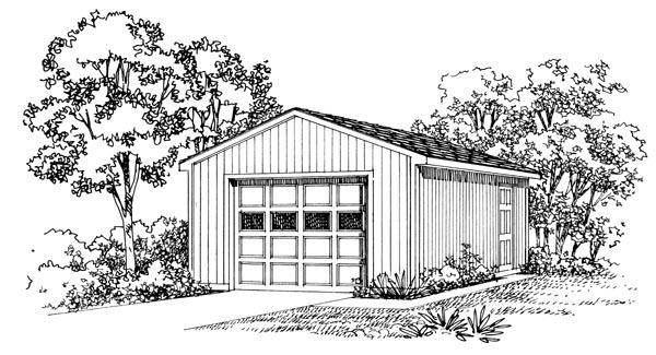 1 Car Garage Plan 95290 Elevation