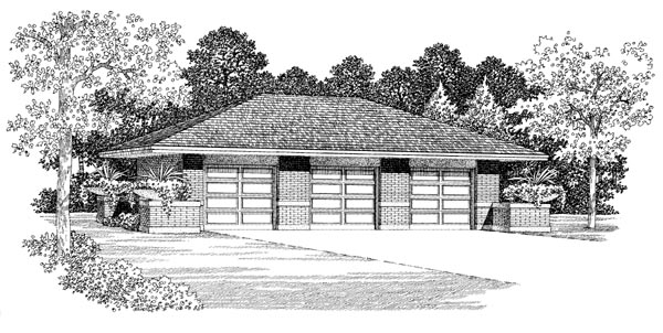3 Car Garage Plan 95296 Front Elevation
