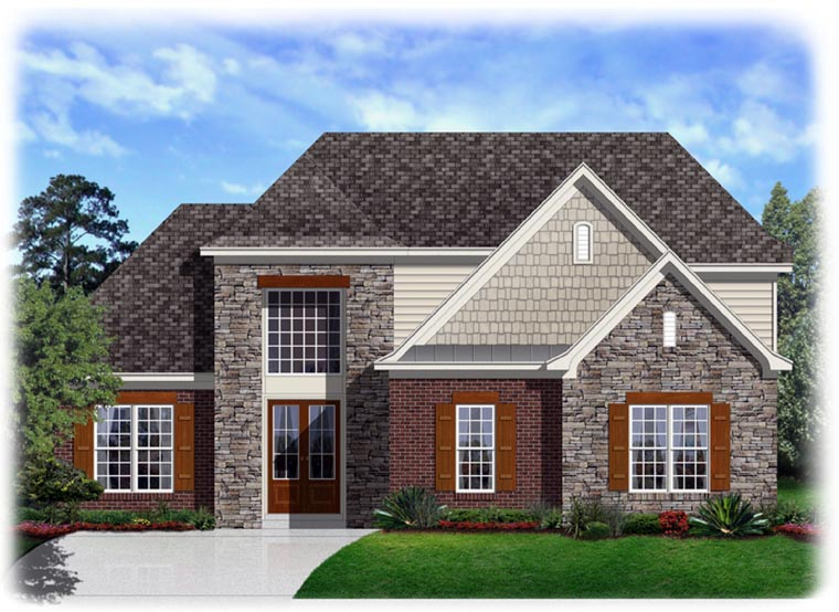Traditional House Plan 95314 with 4 Beds, 3 Baths, 2 Car Garage Elevation