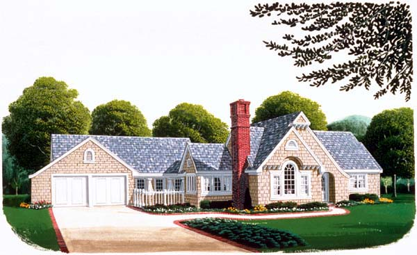 Country, Craftsman, One-Story House Plan 95506 with 2 Beds, 3 Baths, 2 Car Garage Elevation