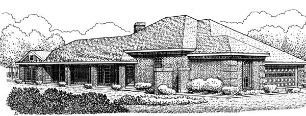 European, One-Story House Plan 95555 with 3 Beds, 2 Baths, 2 Car Garage Elevation