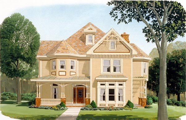 Country, Farmhouse, Victorian House Plan 95560 with 4 Beds, 4 Baths, 2 Car Garage Elevation