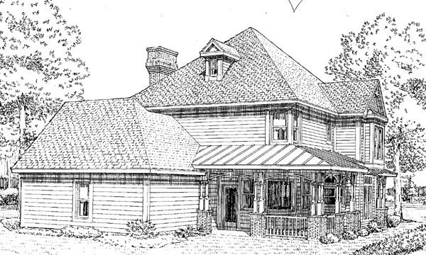 Country, Farmhouse, Victorian House Plan 95560 with 4 Beds, 4 Baths, 2 Car Garage Rear Elevation