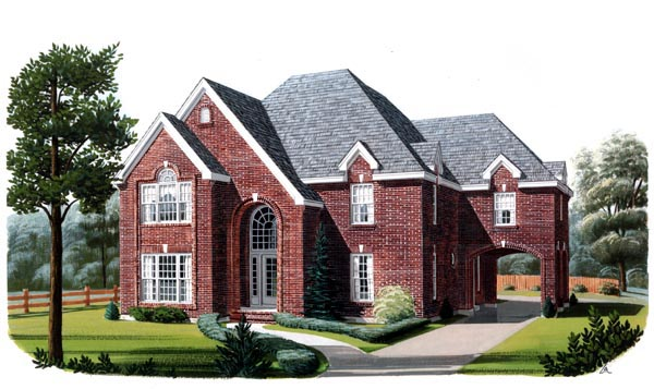 European House Plan 95689 with 4 Beds, 4 Baths, 1 Car Garage Elevation