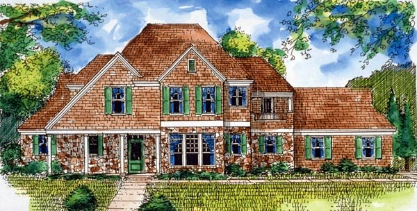 Country, European House Plan 95734 with 4 Beds, 4 Baths, 2 Car Garage Elevation