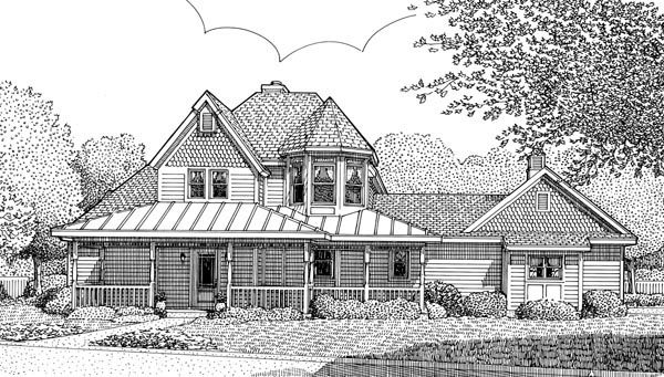 Country, Victorian House Plan 95736 with 3 Beds, 3 Baths, 2 Car Garage Front Elevation