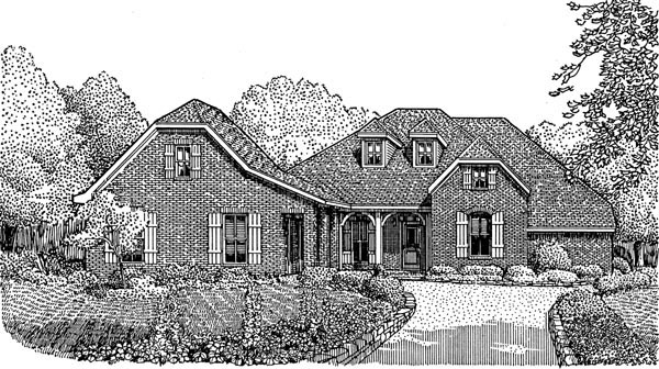 Country, European House Plan 95740 with 3 Beds, 4 Baths, 2 Car Garage Front Elevation