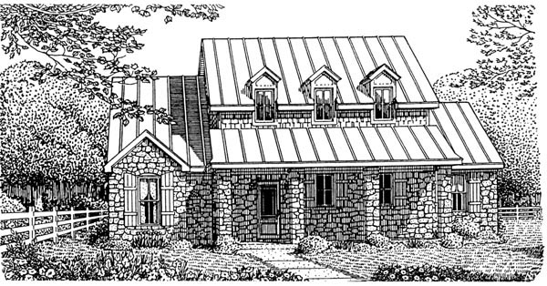 European House Plan 95741 with 3 Beds, 4 Baths, 2 Car Garage Elevation