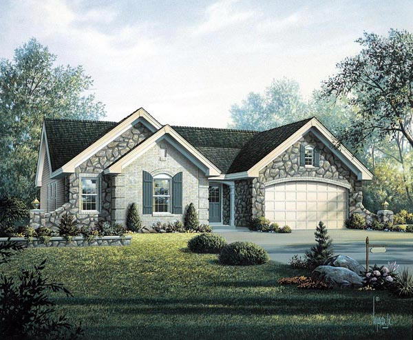 Cottage, Country, Craftsman, Ranch House Plan 95800 with 4 Beds, 2 Baths, 2 Car Garage Elevation