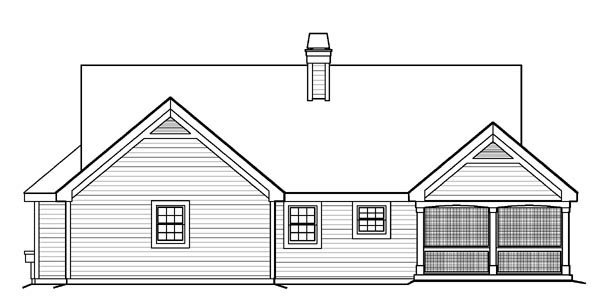 Bungalow, Cabin, Cottage, Country, Ranch, Traditional House Plan 95810 with 2 Beds, 2 Baths, 2 Car Garage Rear Elevation