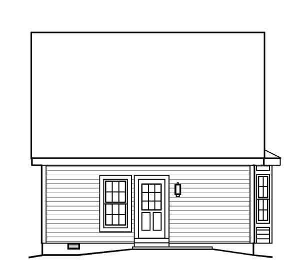 Contemporary, Traditional House Plan 95813 with 2 Beds, 1 Baths Rear Elevation
