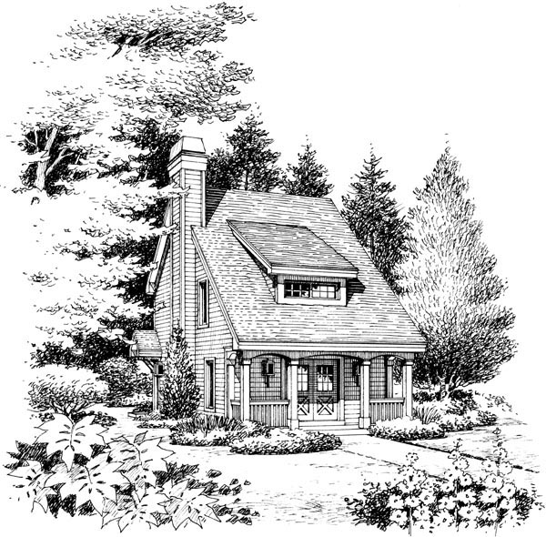 Bungalow, Cabin, Cottage, Country, Traditional House Plan 95817 with 2 Beds, 2 Baths Picture 3