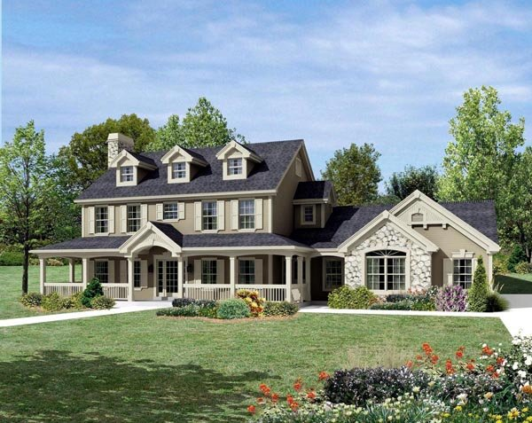 Cape Cod, Colonial, Country, Farmhouse House Plan 95822 with 4 Beds, 4 Baths, 2 Car Garage Elevation