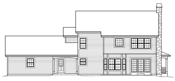 Cape Cod, Colonial, Country, Farmhouse House Plan 95822 with 4 Beds, 4 Baths, 2 Car Garage Rear Elevation