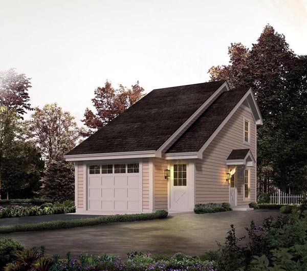 Country, Saltbox 1 Car Garage Apartment Plan 95826 with 1 Beds, 1 Baths Front Elevation