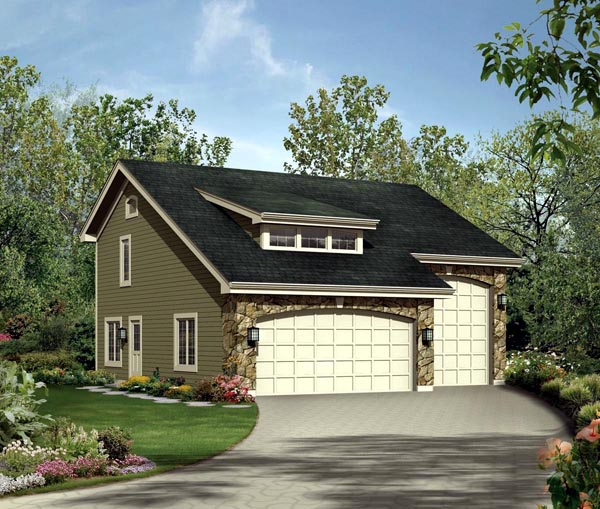 Cabin, Cottage, Country, Craftsman 3 Car Garage Apartment Plan 95827 with 1 Beds, 2 Baths, RV Storage Front Elevation